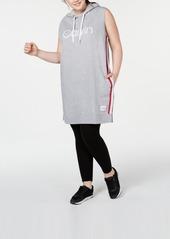Calvin Klein Performance Plus Size Ombre-Stripe Sleeveless Hoodie Dress
