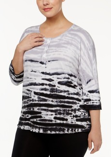 Calvin Klein Performance Plus Size Printed Henley Top