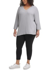 Calvin Klein Performance Plus Size Solid 3/4-Sleeve V-Neck Top