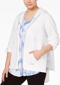 Calvin Klein Performance Plus Size Tab-Sleeve Lace-Hem Hoodie