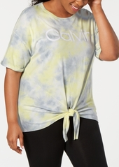 Calvin Klein Performance Plus Size Tie-Dyed Logo Tie-Front T-Shirt