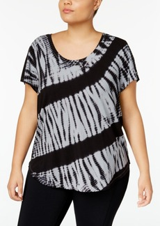 Calvin Klein Performance Plus Size Tie-Dyed Strappy-Back Top