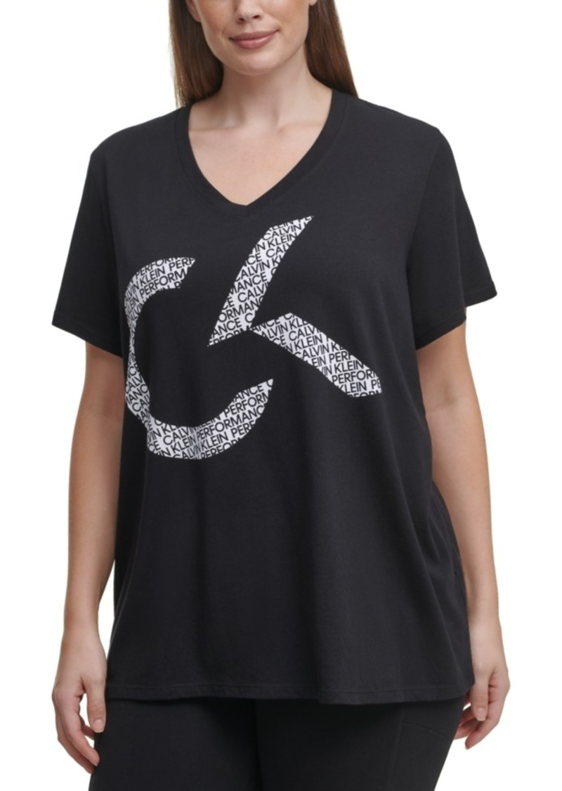 Calvin Klein Performance Plus Size V-Neck Logo Top