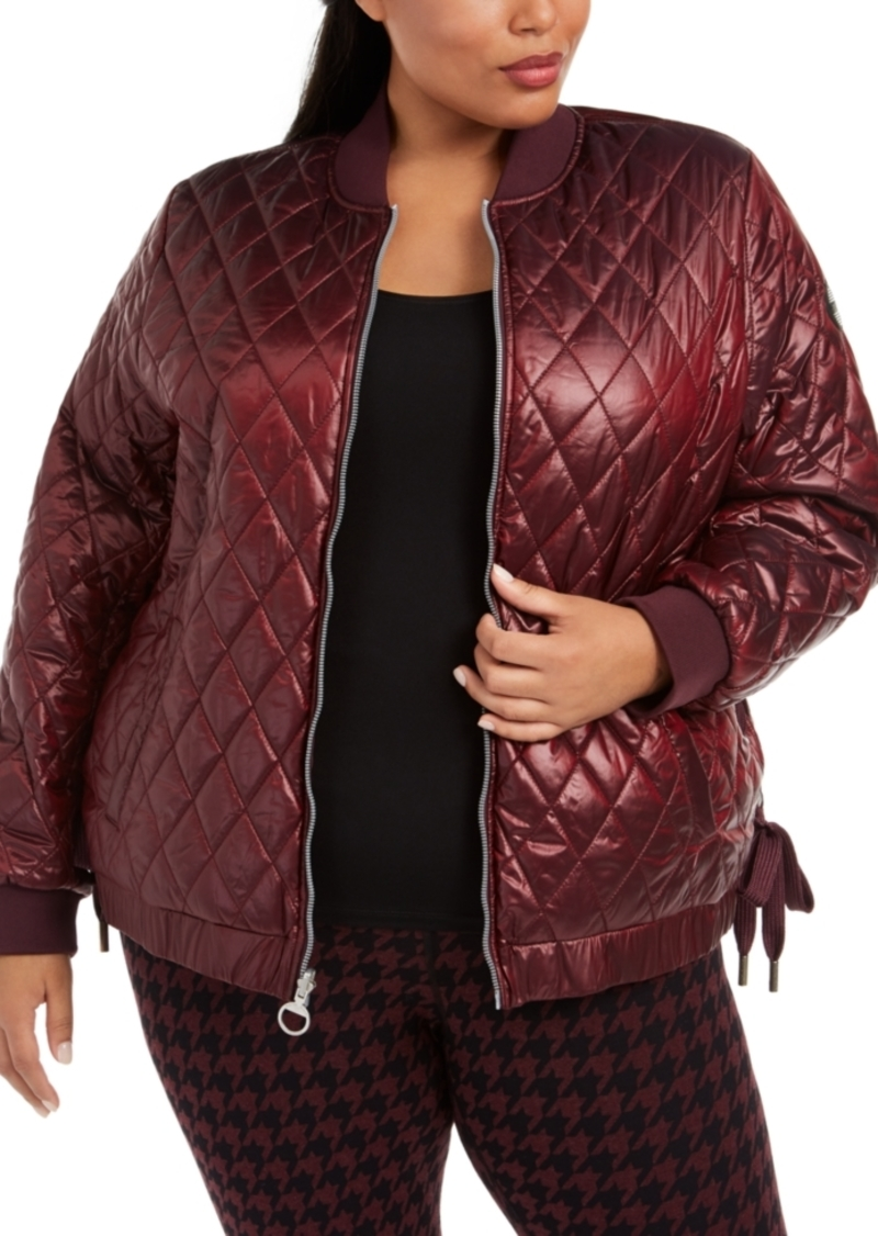 Calvin Klein Performance Plus Size Water-Repellent Reversible Lace-Up Sides Bomber Jacket