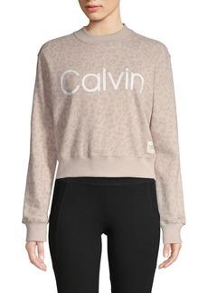 Calvin Klein Performance Printed Logo Mockneck Sweatshirt