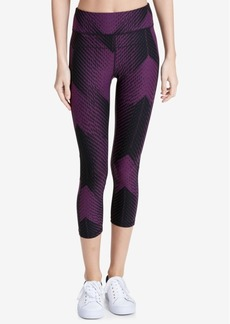 Calvin Klein Performance Printed Mesh-Trimmed High-Rise Cropped Leggings