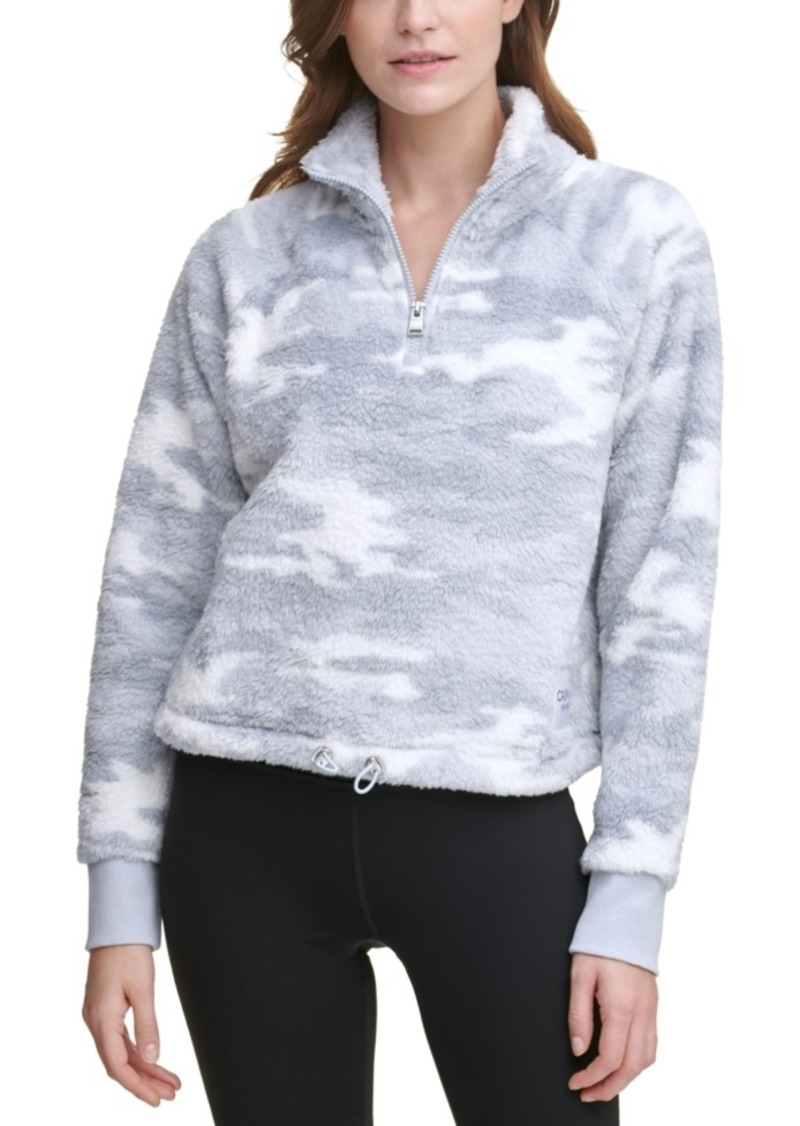Calvin Klein Performance Printed Quarter-Zip Cropped Top