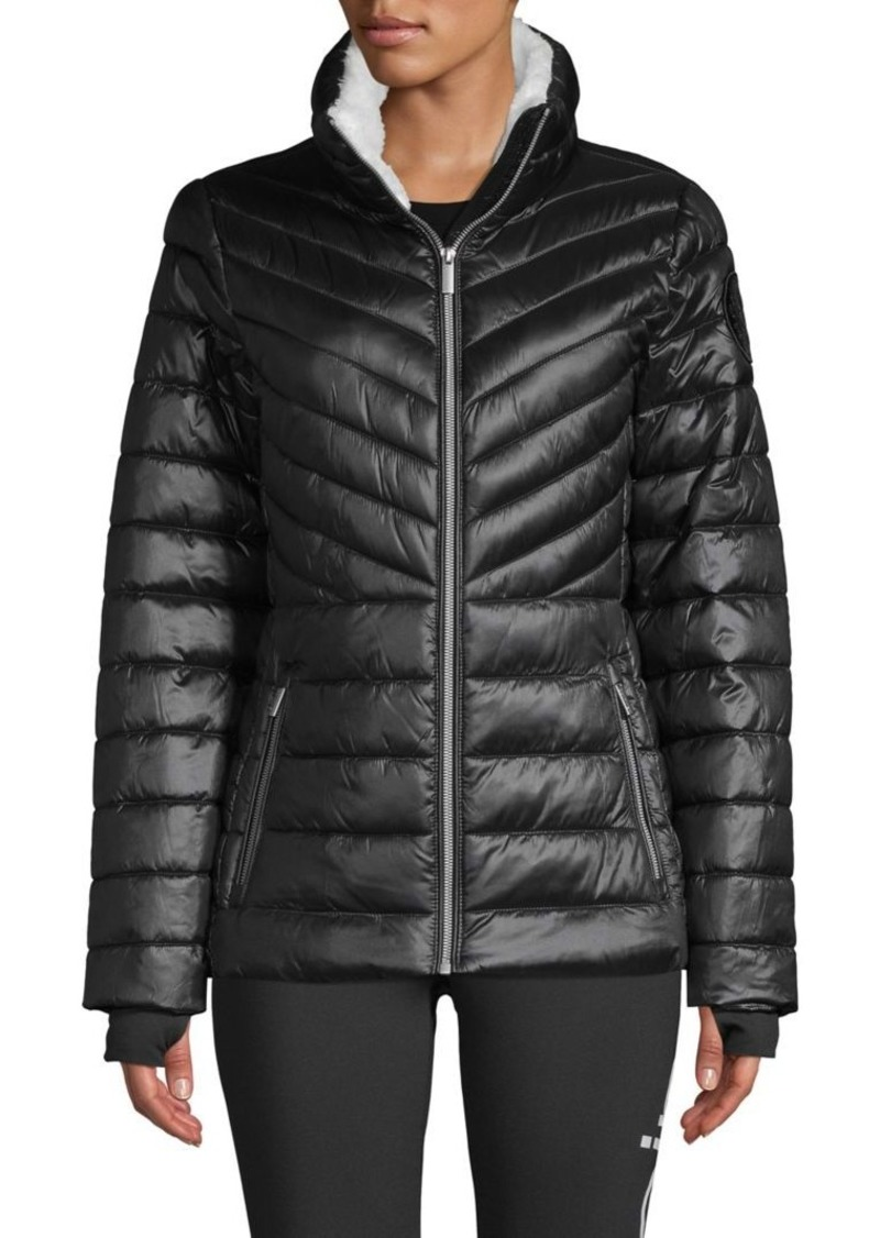 Calvin Klein Performance Quilted Faux-Shearling Trimmed Quilted Jacket