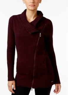 Calvin Klein Performance Ribbed Asymmetrical-Zip Sweater