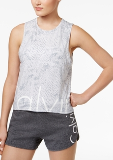 Calvin Klein Performance Snake-Print Cropped Logo Tank Top