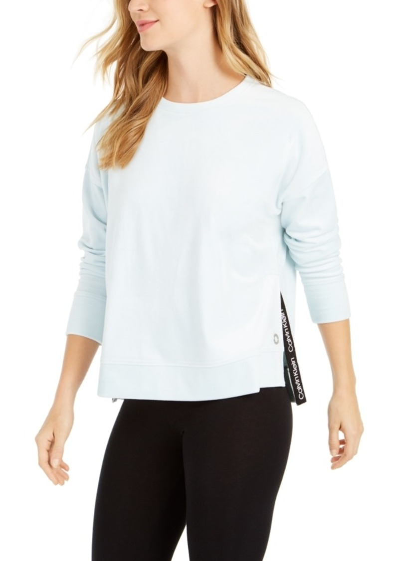 Calvin Klein Performance Velour Split-Hem Top