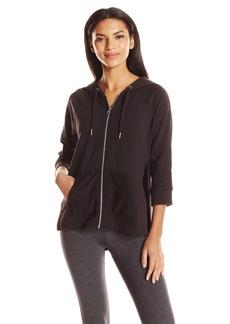 Calvin Klein Performance Women's 3/4 Sleeve Hoodie Jacket With Mesh Piecing  M