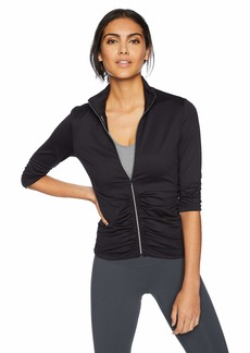 Calvin Klein Performance Women's 3/4 Sleeve Rouched Compression Jacket  Extra Large