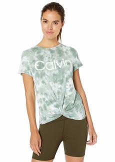 Calvin Klein Performance Women's Calvin Logo Sunbrust Tie Dye Twist Front Tee