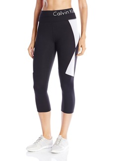 Calvin Klein Performance Women's Color Block Logo Crop Legging  edium