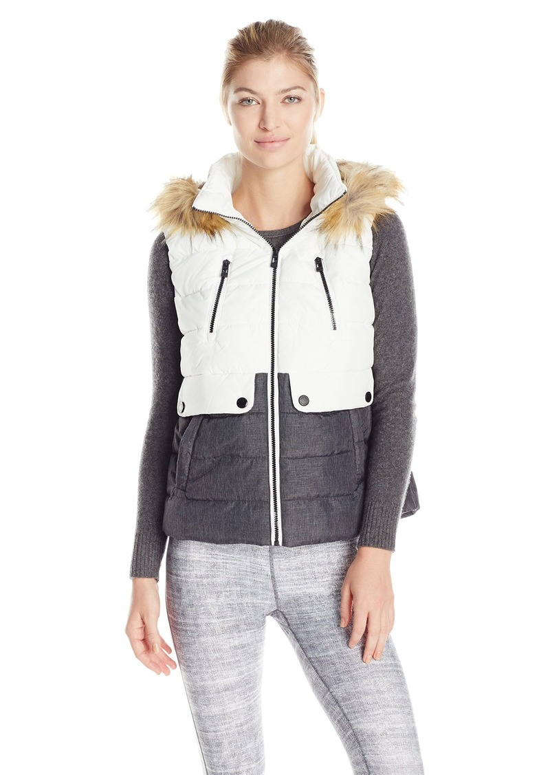 Calvin Klein Performance Women's Color Block Vest with Removable Hood  M