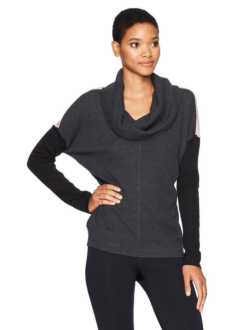 Calvin Klein Performance Women's Colorblock Cowl Neck Thermal Pullover  XL