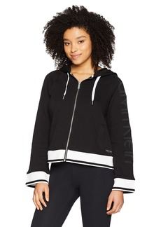 Calvin Klein Performance Women's Cropped Full Zip Logo Terry Hoodie