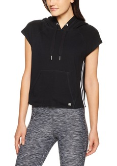Calvin Klein Performance Women's Cropped Pullover Hoodie with Floral Patch on Hood