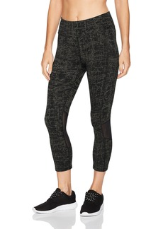 Calvin Klein Performance Women's Crosshatch Print Crossover Side Pocket Crop Tight  L