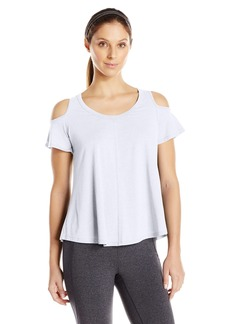 Calvin Klein Performance Women's Distreshortsleeve Wash Cold Shoulder Tee with Back Pleat  L