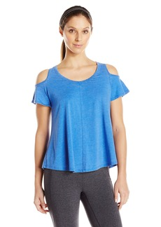 Calvin Klein Performance Women's Distreshortsleeve Wash Cold Shoulder Tee With Back Pleat  M