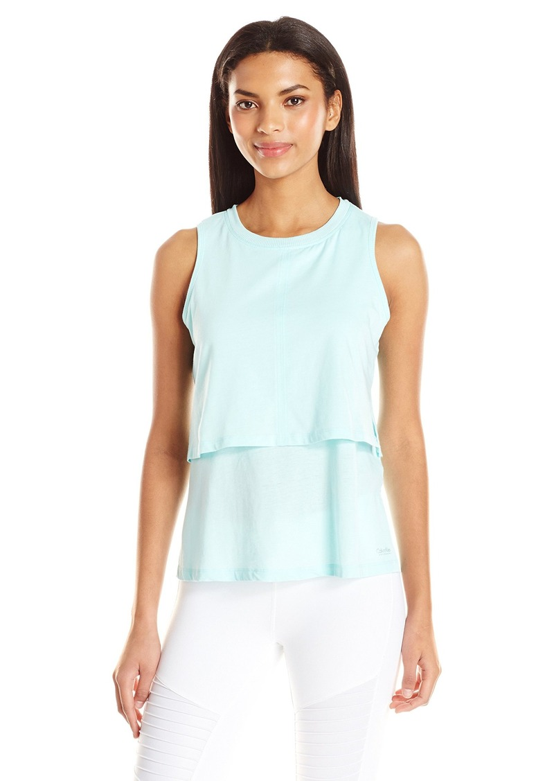 Calvin Klein Performance Women's Distreshortsleeve Wash Double Layer Tank with Side Slit  L
