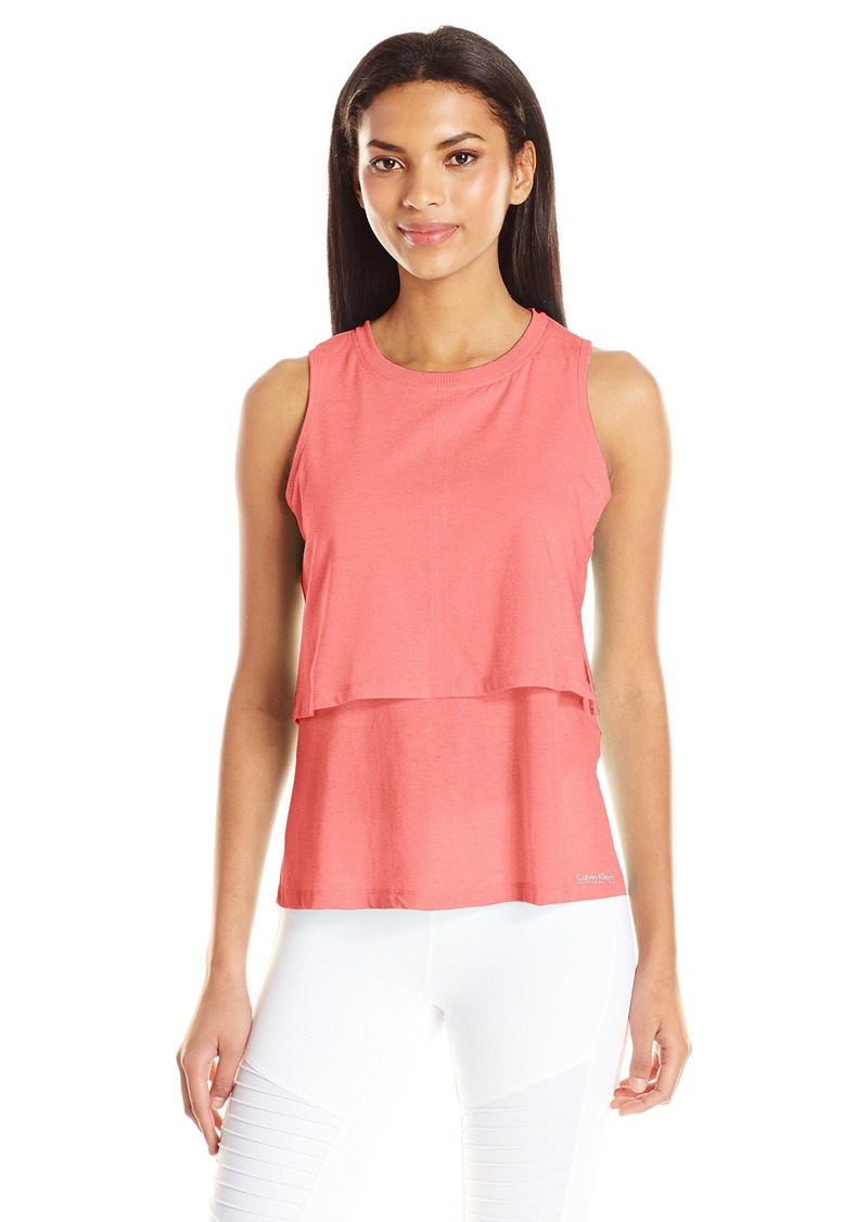 Calvin Klein Performance Women's Distreshortsleeve Wash Double Layer Tank with Side Slit  XL
