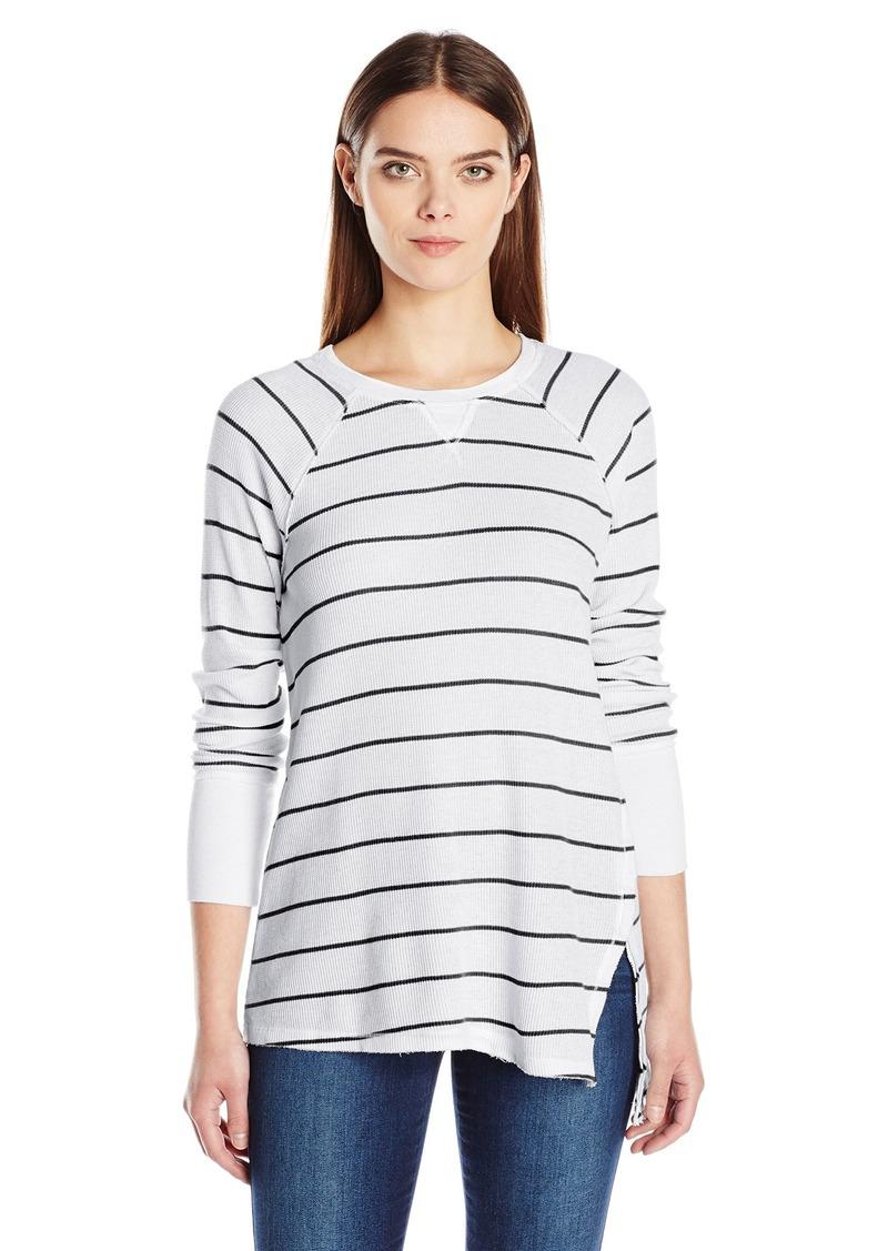 Calvin Klein Performance Women's Distress Wash Stripe Asymmetric Vent Long Sleeve Top  L