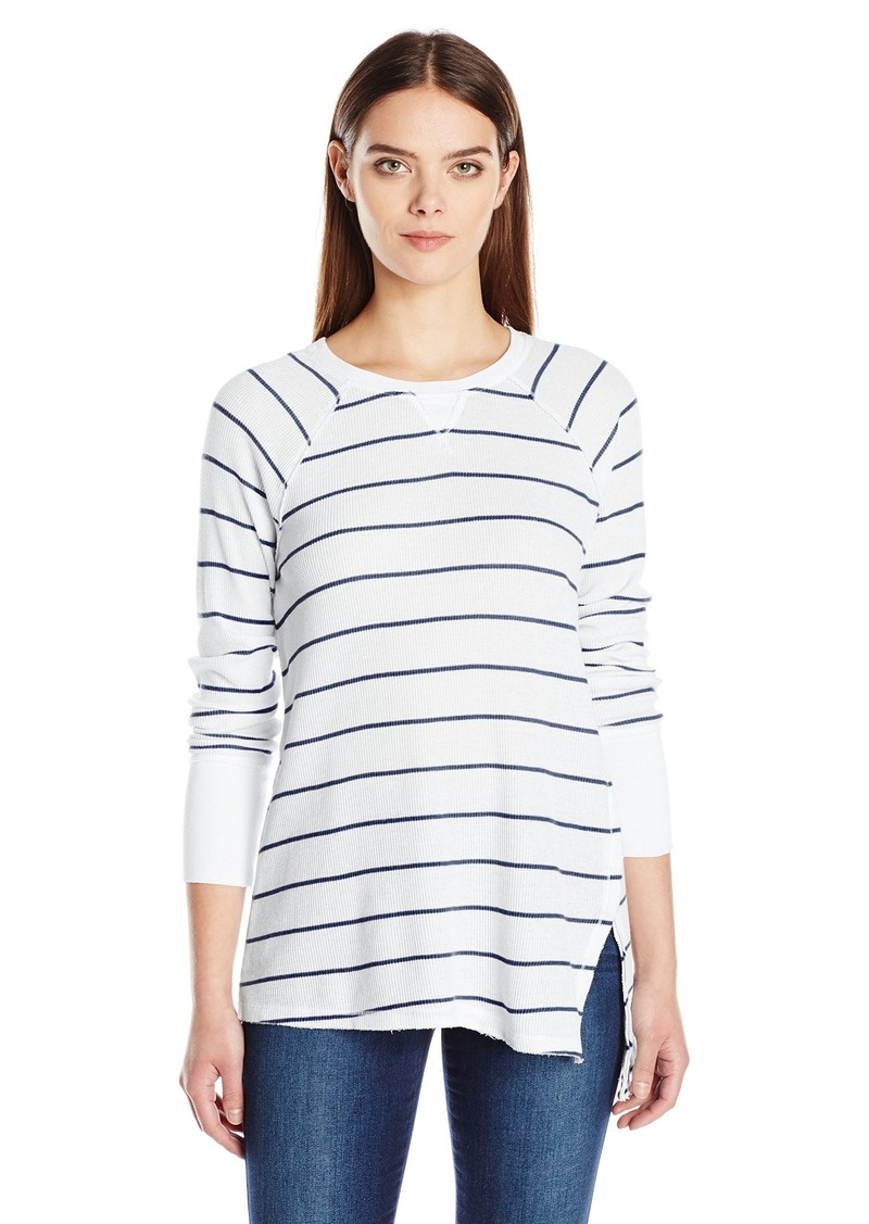 Calvin Klein Performance Women's Distress Wash Stripe Asymmetric Vent Long Sleeve Top  M
