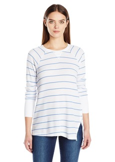 Calvin Klein Performance Women's Distress Wash Stripe Asymmetric Vent Long Sleeve Top  S