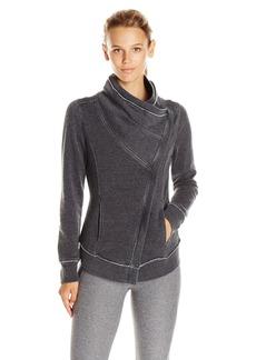 Calvin Klein Performance Women's Distressed Fleece Asymmetrical Zip Jacket