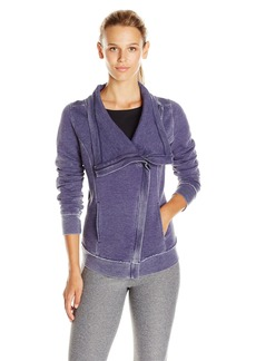 Calvin Klein Performance Women's Distressed Fleece Asymmetrical Zip Jacket