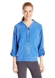 Calvin Klein Performance Women's Distressed Fleece Hoodie With Thermal Knit Sleeves