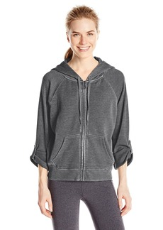 Calvin Klein Performance Women's Distressed Fleece Hoodie with Thermal Knit Sleeves