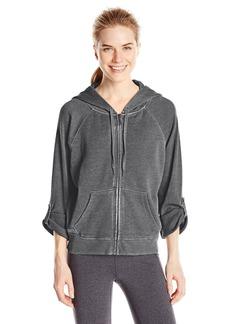 Calvin Klein Performance Women's Distressed Fleece Hoodie with Thermal Knit Sleeves  edium