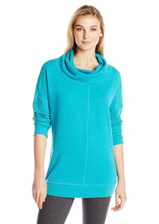 Calvin Klein Performance Women's Distressed Fleece Sweatshirt with Thermal Cowl