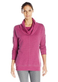 Calvin Klein Performance Women's Distressed Fleece Sweatshirt with Thermal Cowl