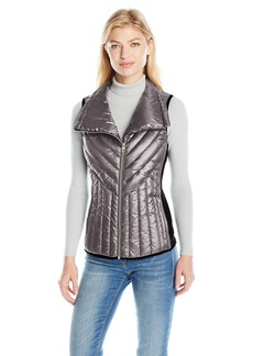 Calvin Klein Performance Women's Down Filled Asymmetric Collar Quilted Vest  M