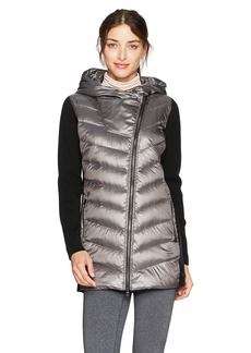 Calvin Klein Performance Women's Down Filled Big Hood Asymmectric Walker Coat W/Rib  S