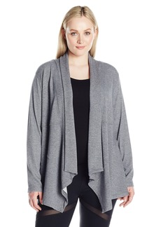 Calvin Klein Performance Women's Drape Front Cardigan With Rib Sleeves  L