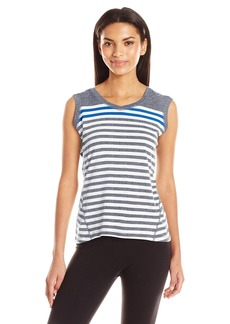 Calvin Klein Performance Women's Dynamic Stripe Sleeveleshortsleeve Hoodie  L
