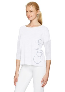 Calvin Klein Performance Women's Hi Low Dolman 3/4 Sleeve Logo Tee Sugar XL