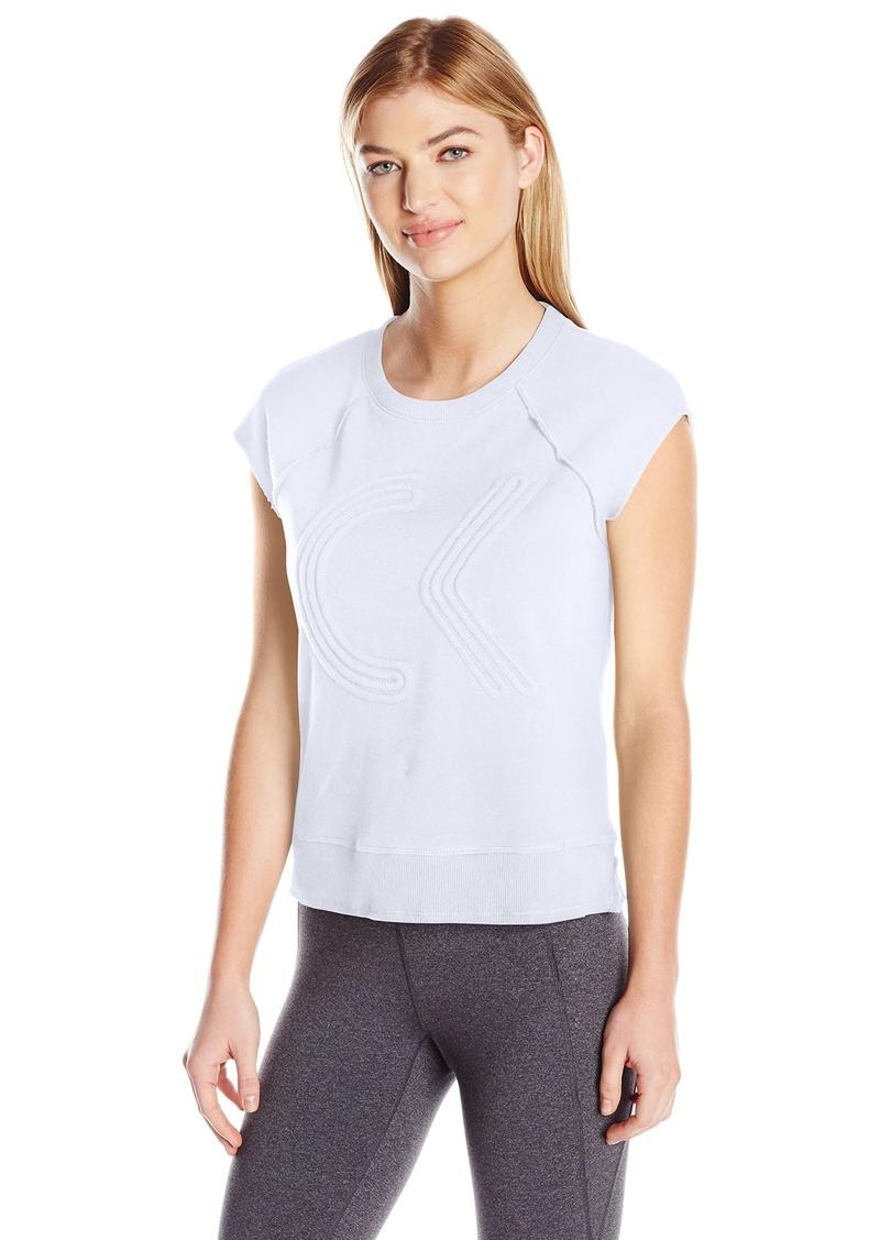 Calvin Klein Performance Women's Icon Corded Logo Crop Sleeveleshortsleeve Sweatshirt  XL