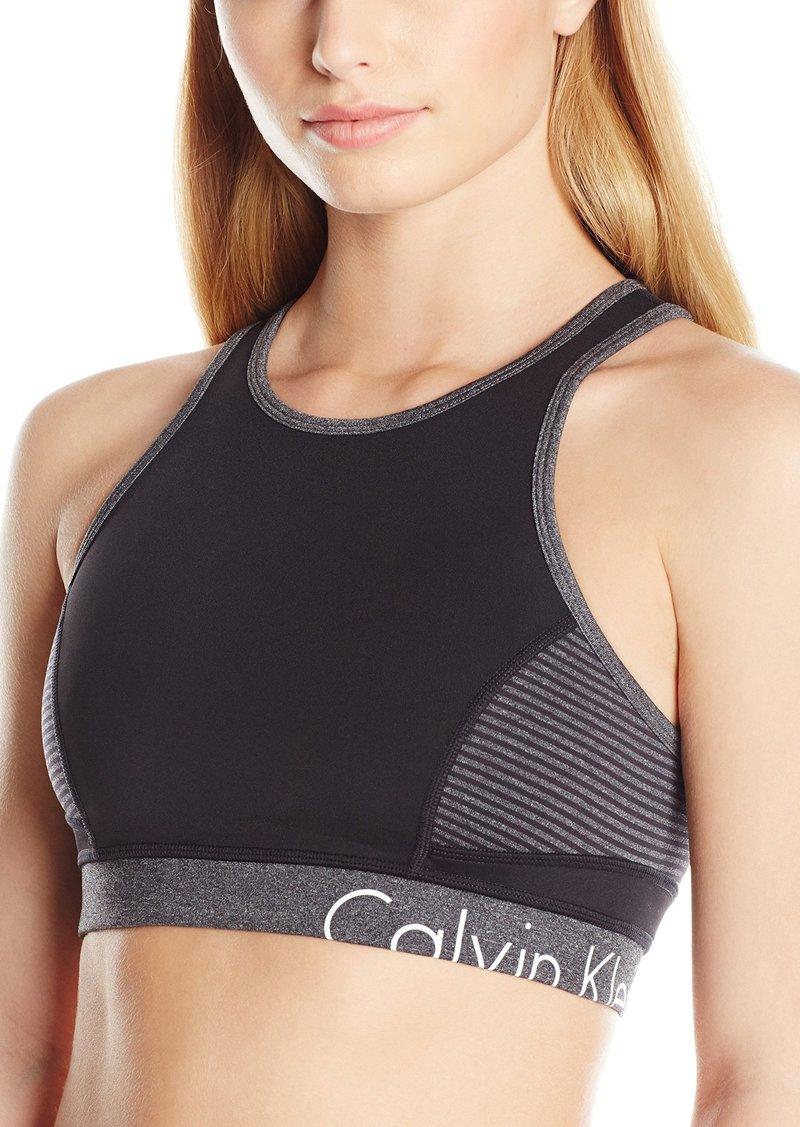 fdb22b868b Calvin Klein Performance Women s Black Keyhole Storm Stripe Sports Bra S