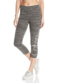 Calvin Klein Performance Women's Large Outline Cut Off Logo Crop Legging  XL