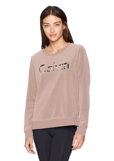 Calvin Klein Performance Women's Logo Velour Crew Pullover  M
