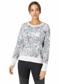 Calvin Klein Performance Women's Long Sleeve Crow Neck Pullover with Track Stripe and Logo Optic Heather iris ice Combo