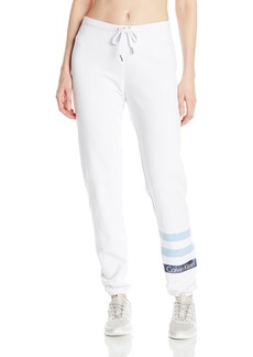 Calvin Klein Performance Women's Metallic Stripe Logo Slim Fit Sweatpant  L