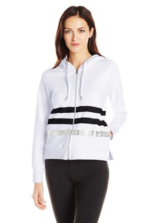 Calvin Klein Performance Women's Metallic Stripe Logo Zip Front Hoodie Jacket  L